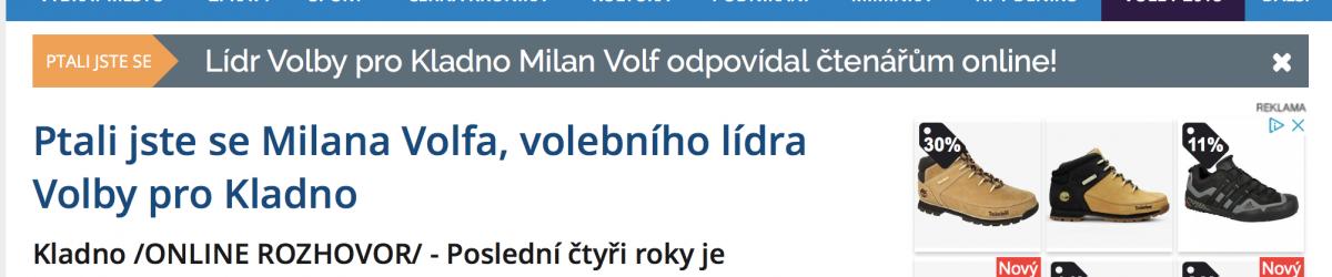 Rozhovor Milana Volfa v Kladenském deníku